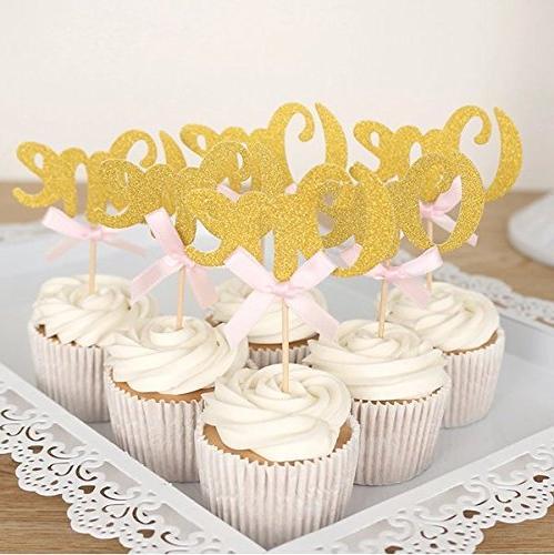 glitter gold one cupcake topper