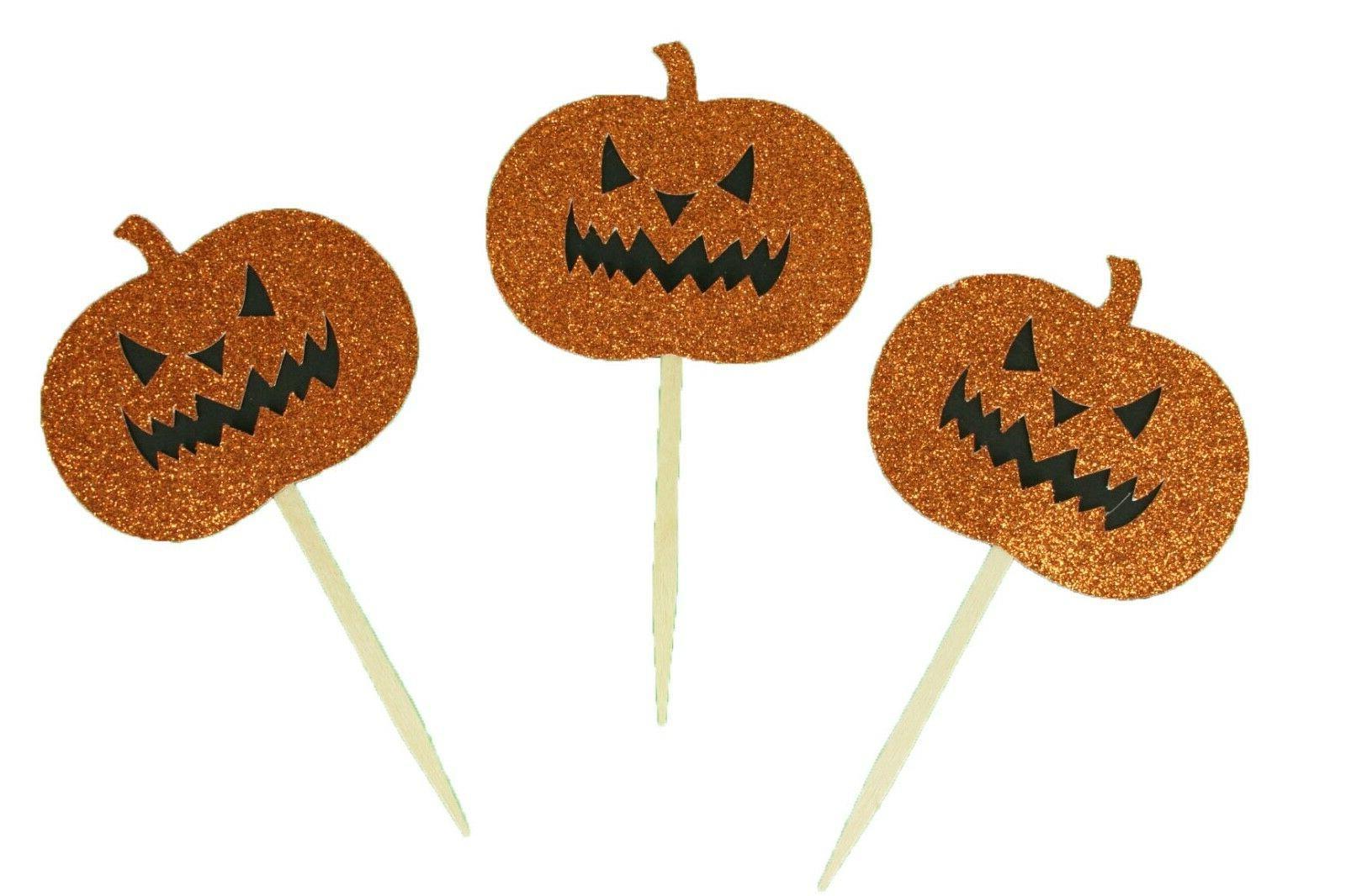 """Glitter Halloween PUMPKIN Design 2-1/2"""" Cupcake Toppers CHOO"""
