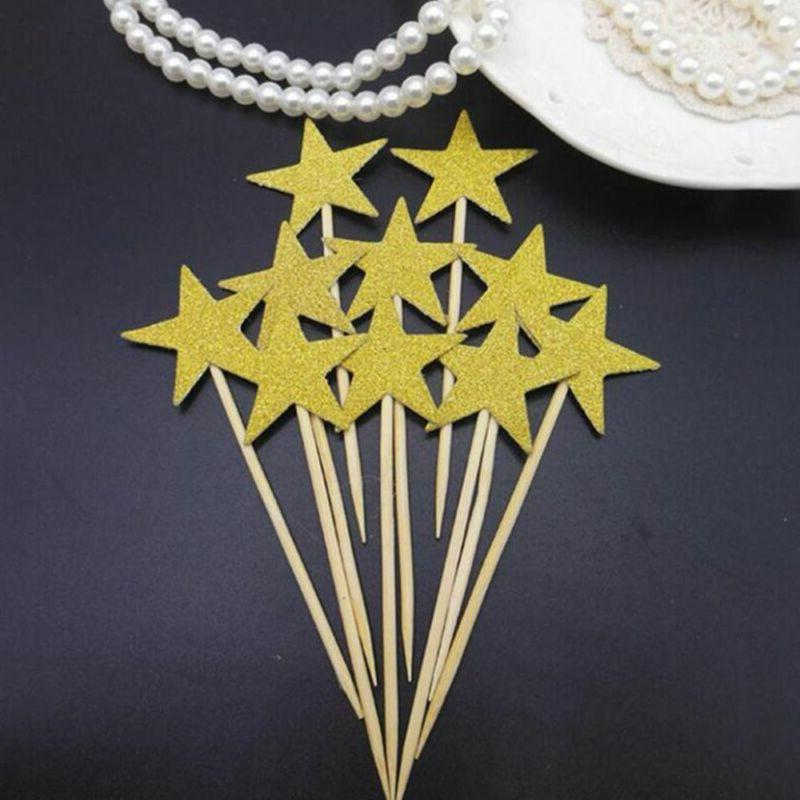 Glitter Star Cupcake Toppers Twinkle Little Star Birthday Pa