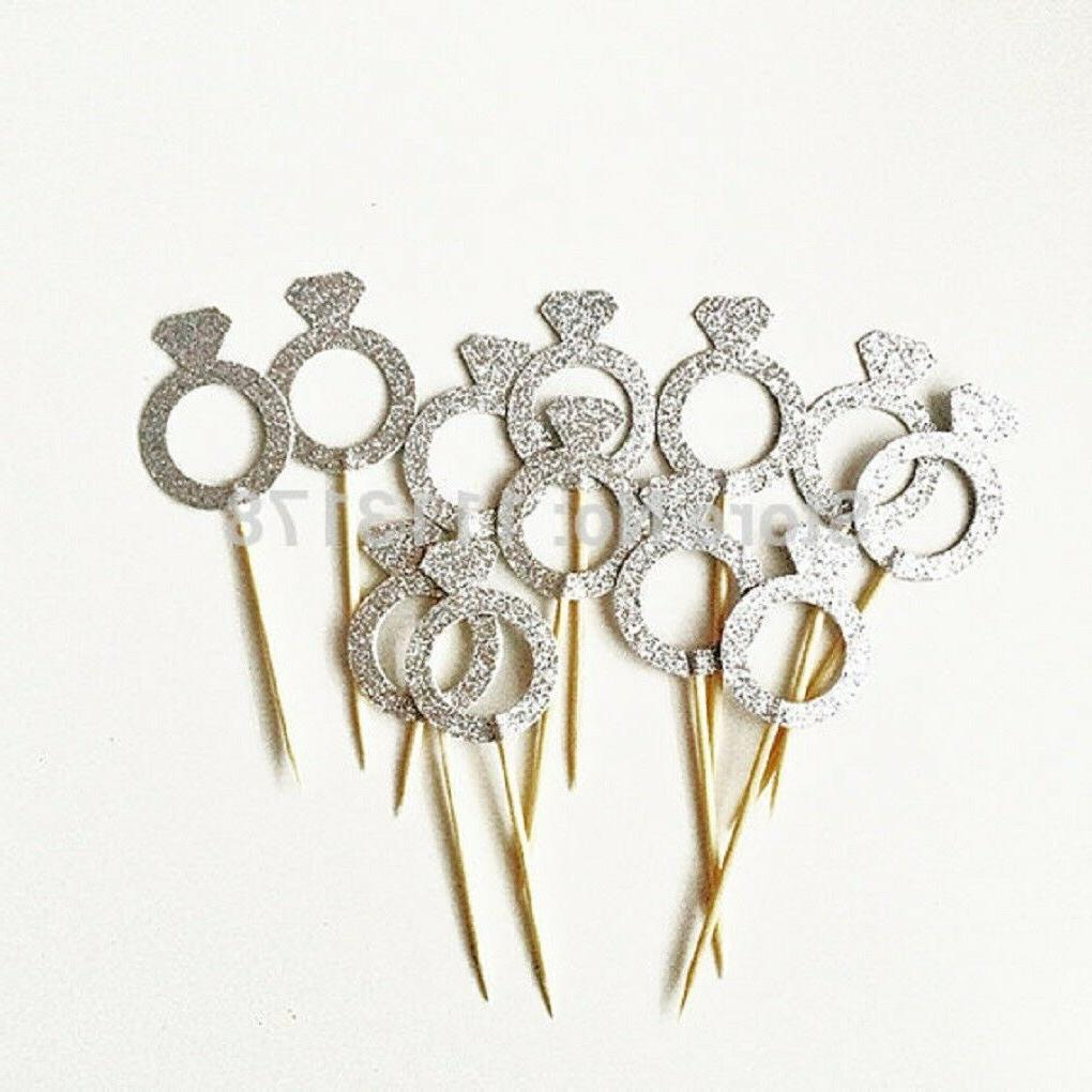 Glitter Wedding Theme Cupcake Toppers-10 or 12/set Pieces Va