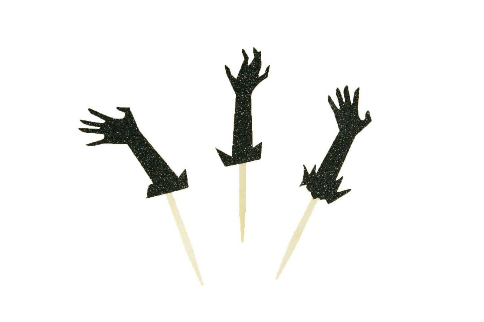 "GLITTER ZOMBIE Hands Halloween Cupcake Topper Pick 2.5"" Ta"
