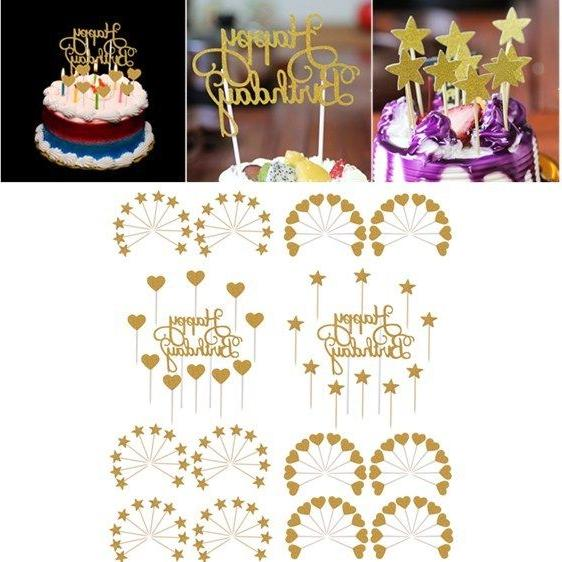Gold Glitter Cake Cupcake Toppers Set Happy Birthday Party S