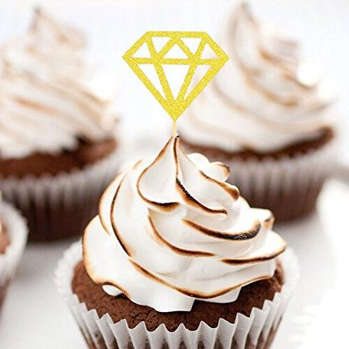 Besokuse Glitter Toppers Diamond Decorations Bridal Party Supplies Table Birthday Shower,pack 30