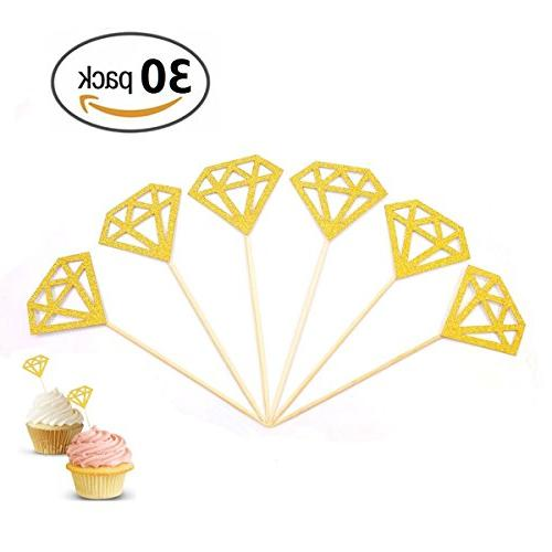Besokuse Gold Cupcake Toppers Diamond Wedding Decorations Party Supplies Table Party Shower,pack 30