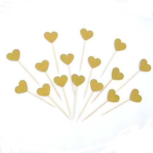 Hemarty Gold Mini Cupcake Decorations Picks 40PCS