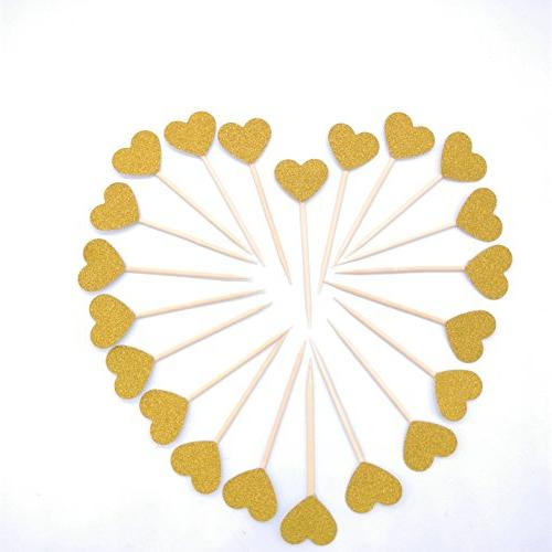 Mini Cake Decorations Toppers Picks for Wedding and 40PCS