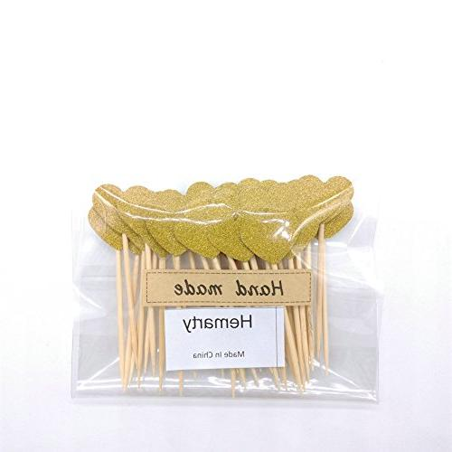 Hemarty Gold Glitter Mini Decorations Wedding Baby 40PCS