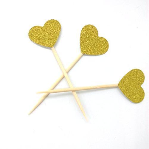 gold glitter heart mini cupcake