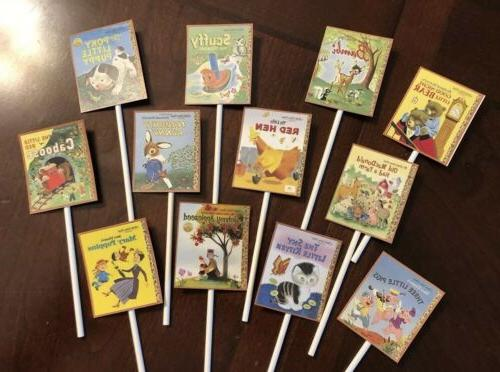 golden books cupcake toppers baby shower decorations