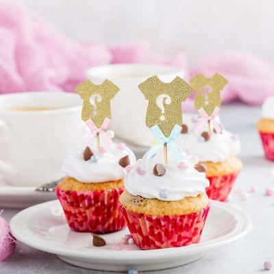 Golden Glitter Cupcake Toppers, Gender Baby Shower