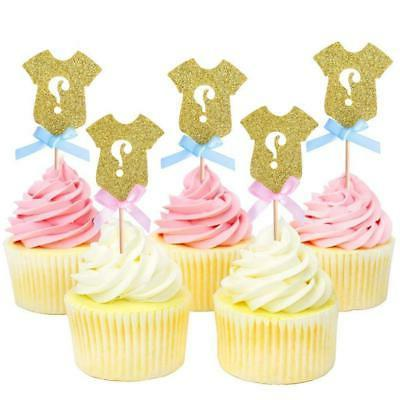 Golden Cupcake Toppers, Gender Baby Shower