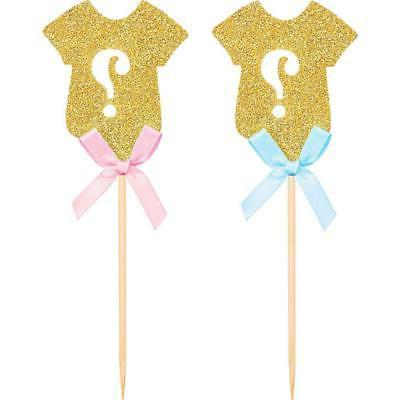 Golden Glitter Gender Reveal Cupcake Baby Shower PartU3L2