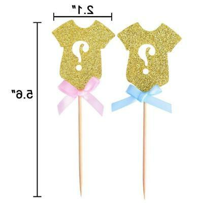 Golden Glitter Reveal Cupcake Toppers, Reveal Baby Shower PartU3L2