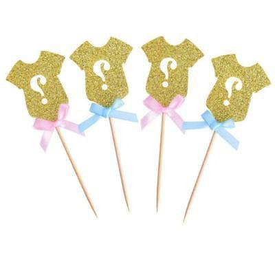 golden glitter gender reveal cupcake toppers gender