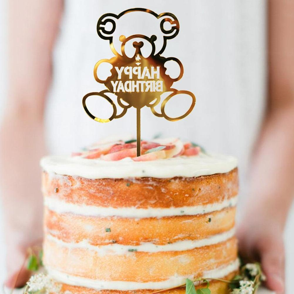 Golden Silvery Flash Cake <font><b>Topper</b></font> Supplies Happy Birthday For <font><b>Cupcake</b></font> Birthday Decoration