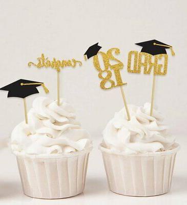 graduation cap theme party cupcake toppers dessert
