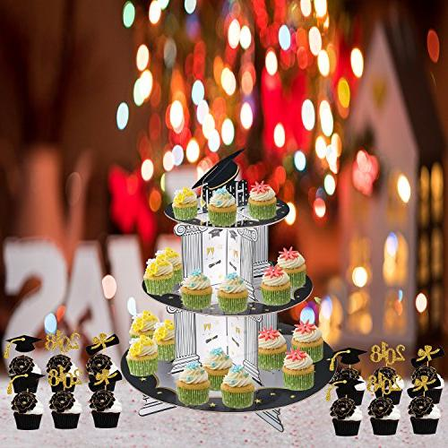 Graduation Picks Decoration 3 Tiered Stands Grad Party Serving Dessert Favors