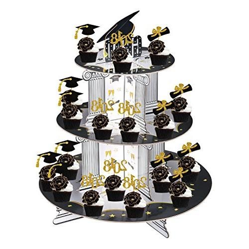 Graduation Picks Set, Konsait 3 Grad Party Cupcake Stands Tower Dessert Supplies