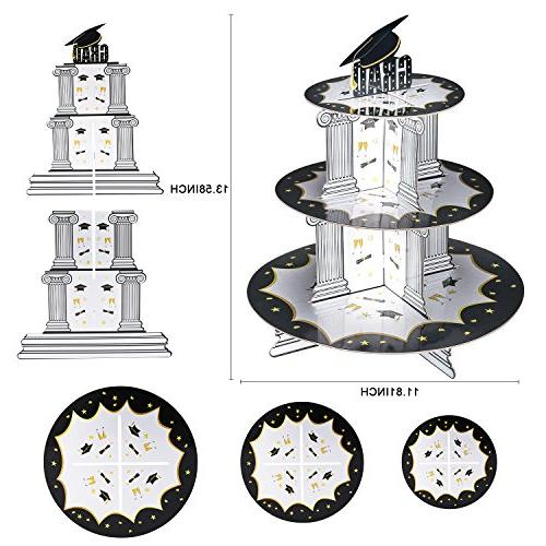 Graduation Holder& BONUS Picks 3 Cupcake Rack Stands Party Decor Dessert Favors Supplies