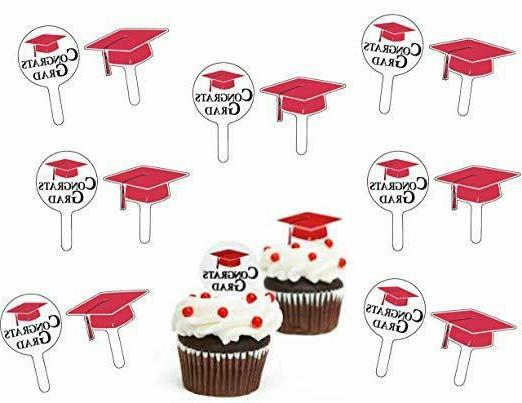 graduation red cupcake picks congrats grad party