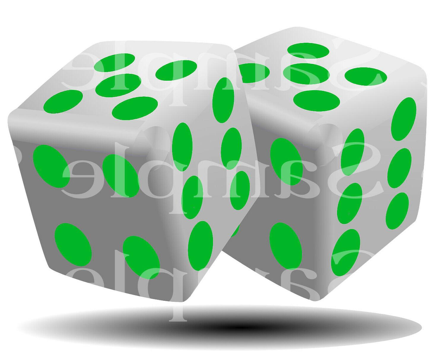 green casino dice birthday edible 2d fondant