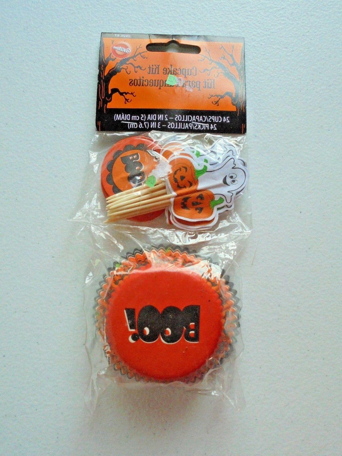 halloween boo cupcake liners and ghost pumpkin