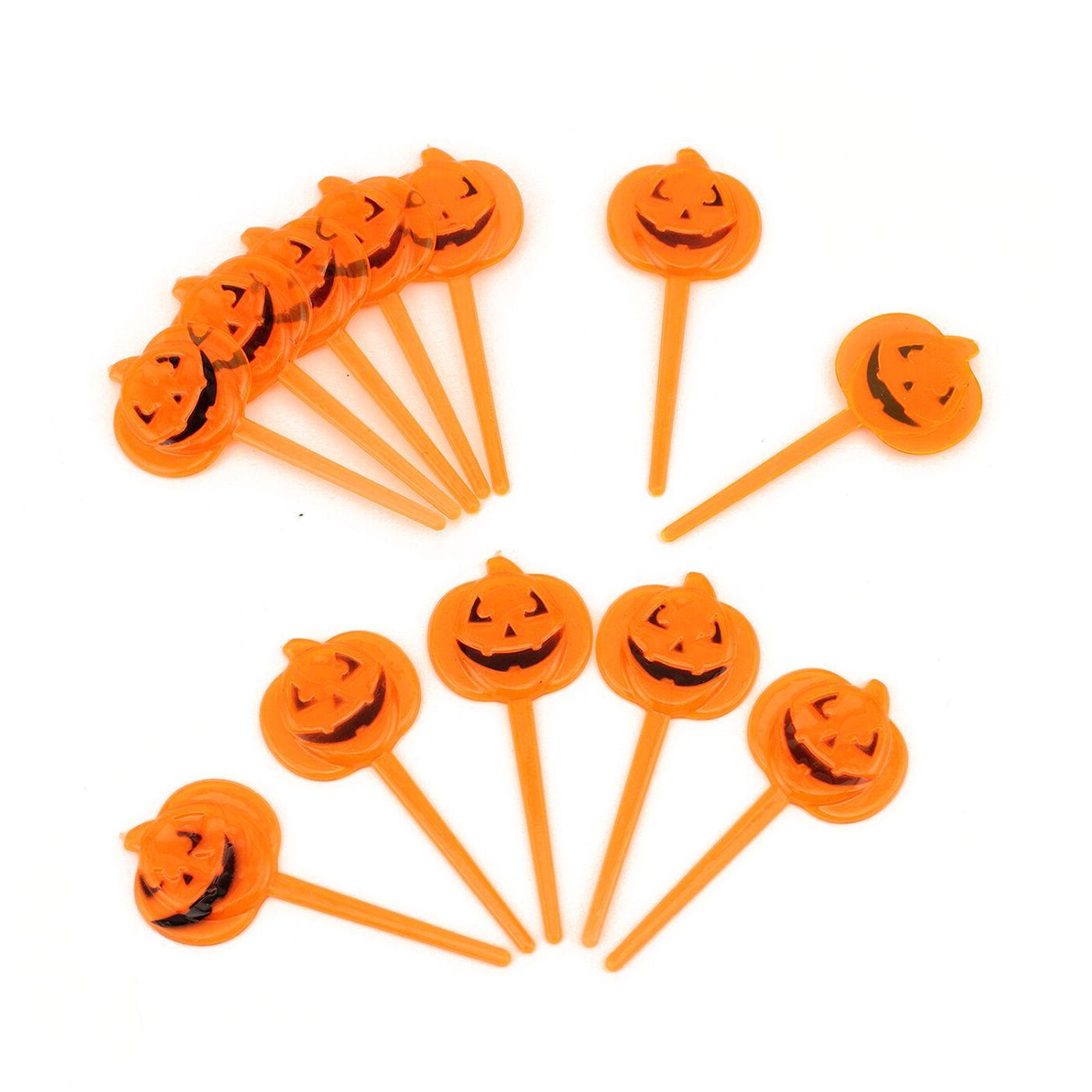 Halloween Plastic Orange Pumpkin Party Appetizers Cupcake Pi