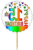 Happy 15th Birthday Rainbow Cupcake Decoration Topper Picks