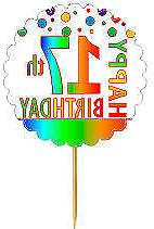 Happy 17th Birthday Rainbow Cupcake Decoration Topper Picks