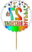 Happy 27th Birthday Rainbow Cupcake Decoration Topper Picks