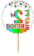 Happy 2nd Birthday Rainbow Cupcake Decoration Topper Picks -