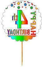 Happy 4th Birthday Rainbow Cupcake Decoration Topper Picks -