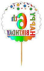 happy 6th birthday rainbow cupcake decoration topper