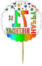 Happy 71st Birthday Rainbow Cupcake Decoration Topper Picks