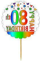 Happy 80th Birthday Rainbow Cupcake Decoration Topper Picks