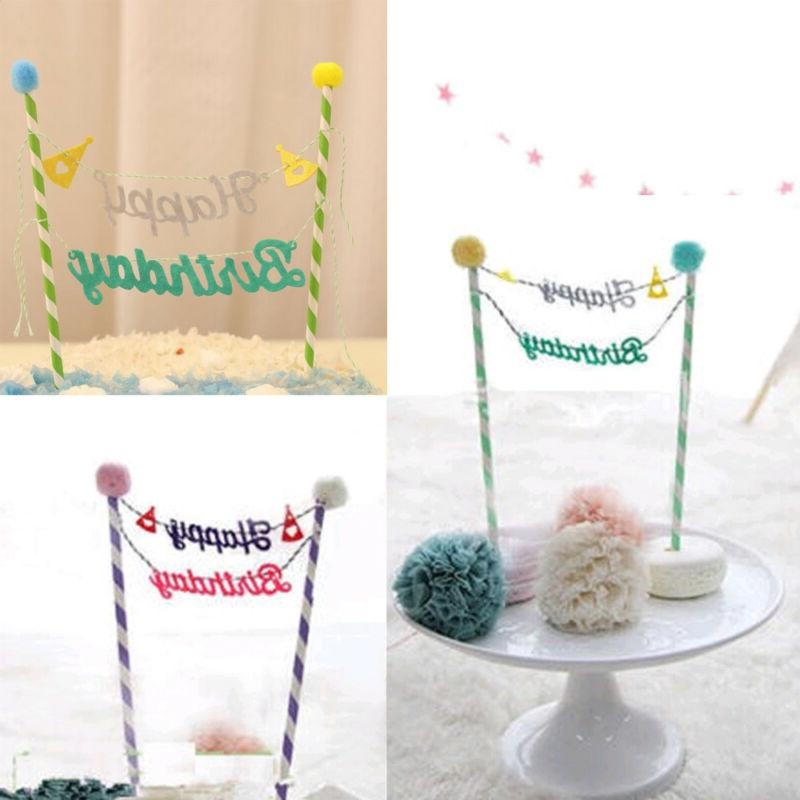 Happy Birthday Cupcake Bunting Banner Topper Baby Shower Party