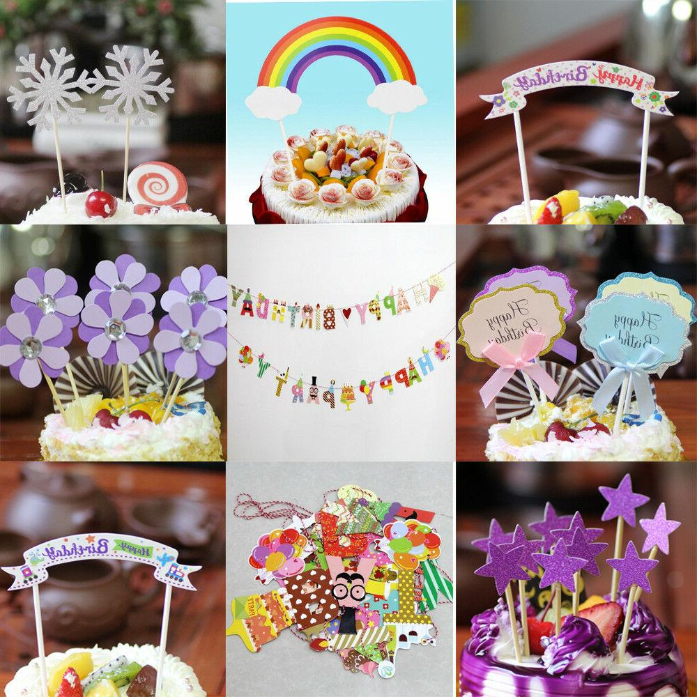 happy birthday wedding party cake cupcake toppers