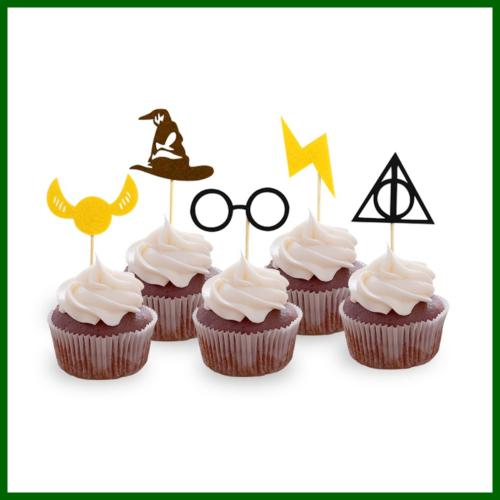 Harry Inspired Cupcake Toppers Wizard Party Cake Pac