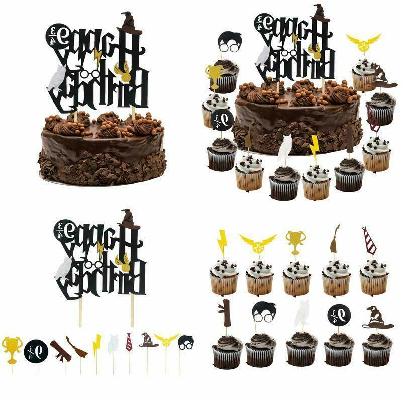 harry potter inspired happy birthday cake topper