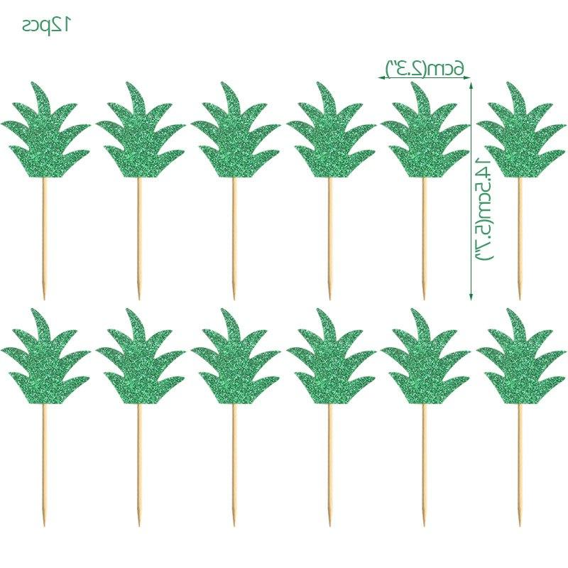 Hawaiian Party Leaves <font><b>Cupcake</b></font> Table Party