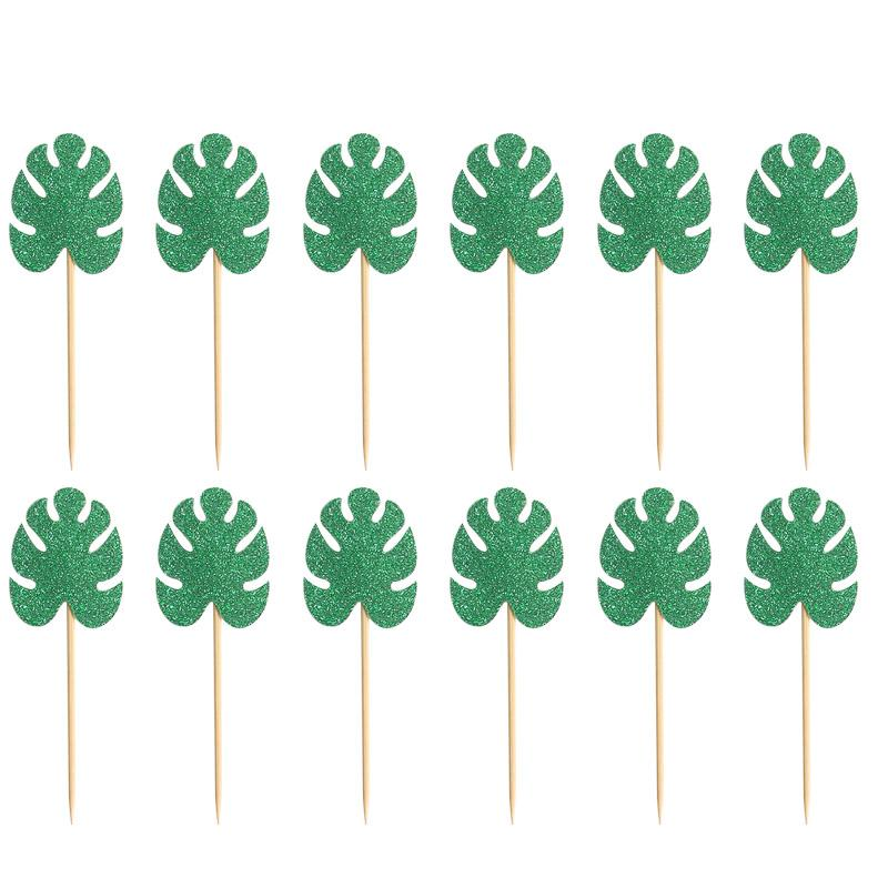 Hawaiian Leaves Monstera Cake <font><b>Toppers</b></font> Table Supplies