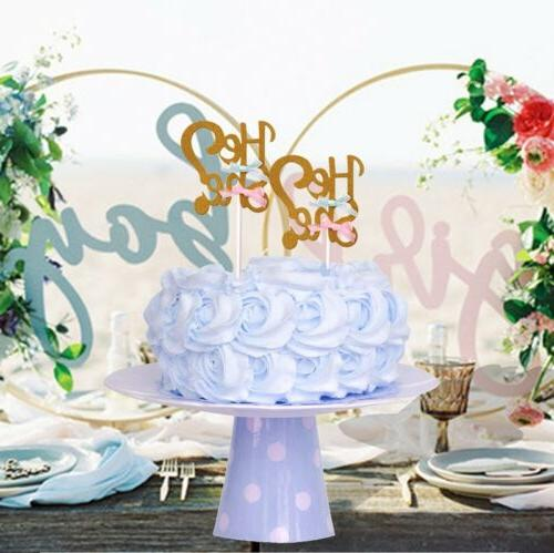 He or Cake Toppers Shower Gender Reveal Decor