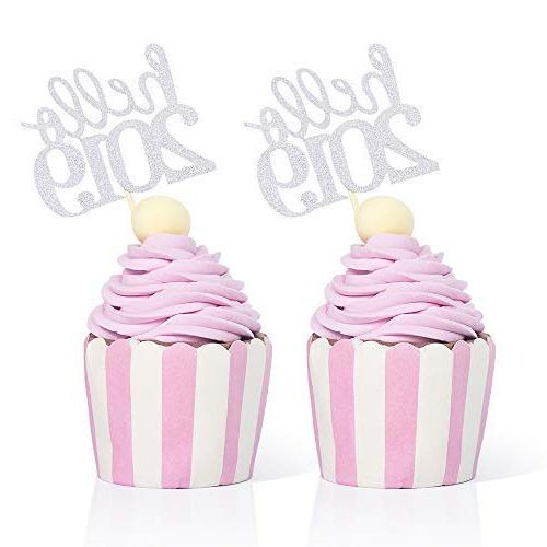 hello 2019 cupcake toppers silver 50pcs new