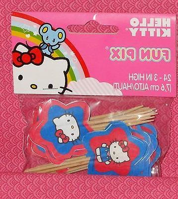 Hello Kitty Cupcake Picks,Fun,Wilton,Red,Pk.24,Topper,2113-7