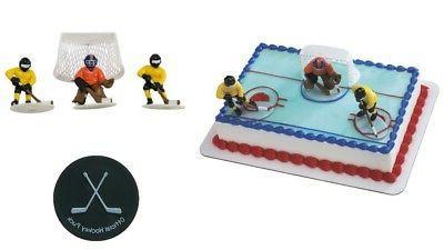 Hockey Players Cake Topper PLUS 24 Hockey Puck Cupcake Rings