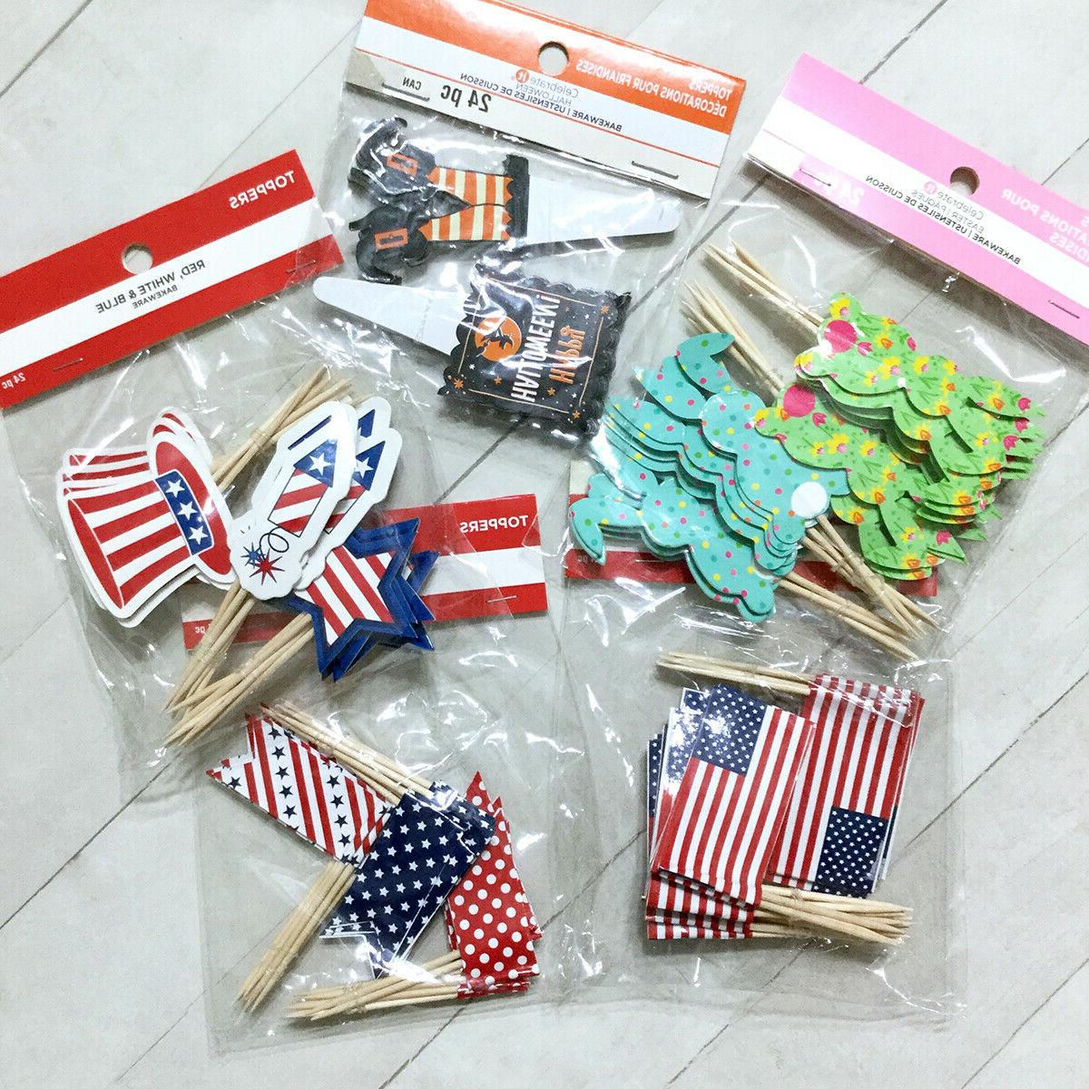 Holiday Cupcake Toppers Picks It Halloween American Flag