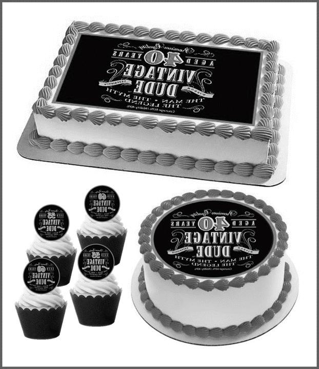 Humorous Vintage Dude Edible Cake Topper Male Man Birthday 4