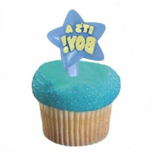 IT'S A BOY Star Shaped Cupcake Toppers