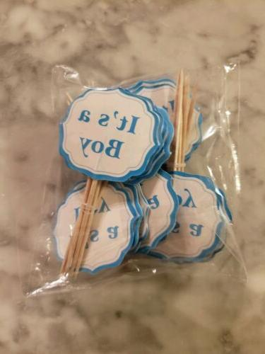 Its a Boy Gender Reveal Party Cupcake Toppers Picks Blue