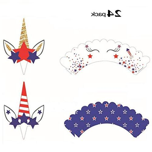 4th July Wrappers Toppers American Day Memorial Veterans Set
